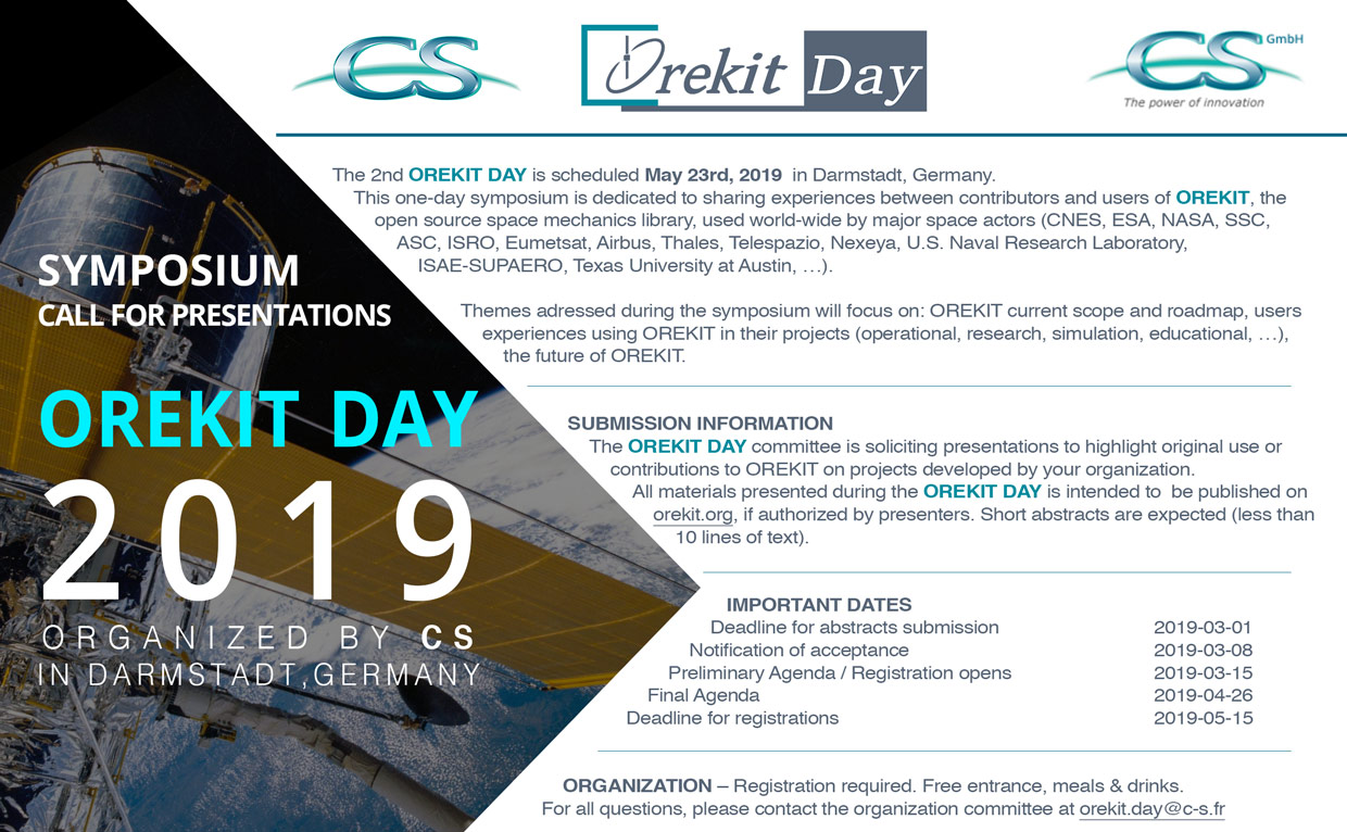Orekit Day 2019 flyer